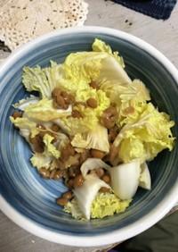 生白菜と納豆で!シャキネバサラダー