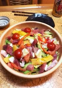 ズボラ 柿とレモンの海鮮サラダ