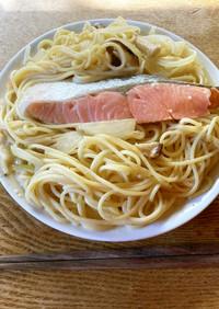 豆乳と鮭のスープスパゲッティ
