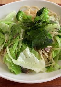 【缶つまで作る】緑の野菜のパスタ!