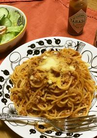 お鍋1つトマトジュースでミートスパゲティ