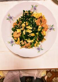 むきえびと卵とニラのオイスターソース炒め