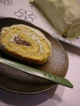外国のお客様。抹茶のロールケーキ