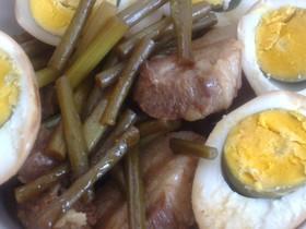 簡単豚肉、ゆで卵の味噌煮(圧力鍋使用)