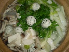 大葉入り鶏団子の鍋