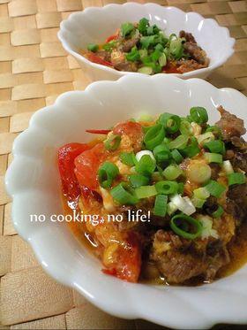 牛肉とトマトのふわふわ玉子炒め