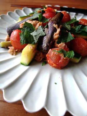 【夏野菜】ズッキーニと茄子のツナ味噌炒め