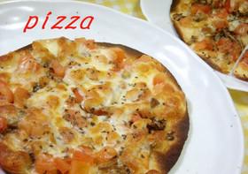 トマトと舞茸の薄~いピザ♪
