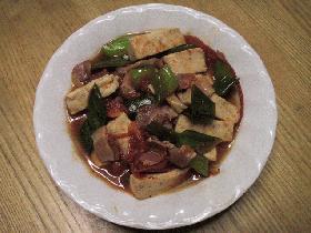 豆腐とトマトのピリ辛炒め
