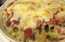 白菜と挽肉のカンタントマトグラタン
