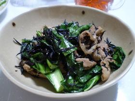 簡単&栄養満点☆ひじきと豚肉の青菜炒め