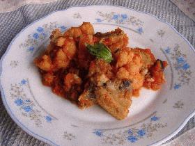 鰯とカリフラワーのトマト煮