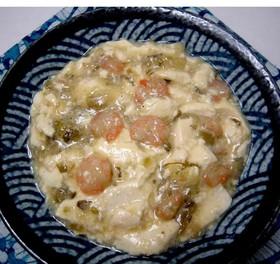 豆腐と海老の 高菜漬け炒め煮