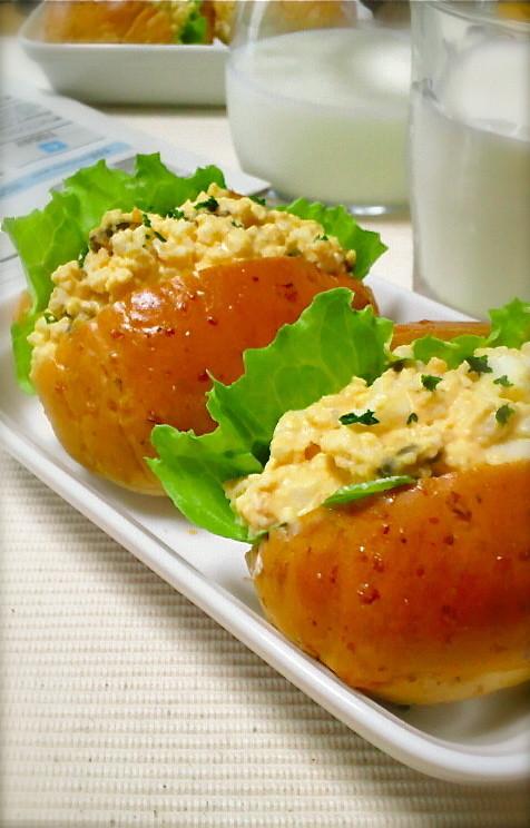 朝食にも♡塩昆布で玉子サンド