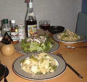 チキン&アスパラガスのパスタ
