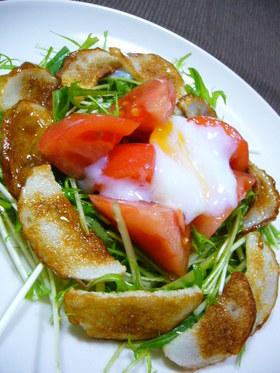 水菜とかまぼことトマトのサラダ