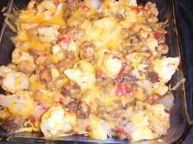 牛ひき肉とカリフラワーの簡単オーブン焼き