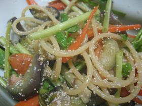 セリと明太子のスパゲティ