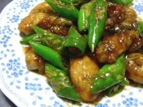 牡蠣と青唐辛子の生姜焼き