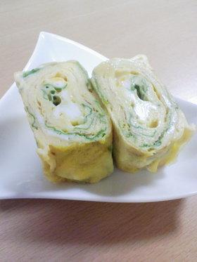 お弁当♪セロリの葉とチーズの卵焼き