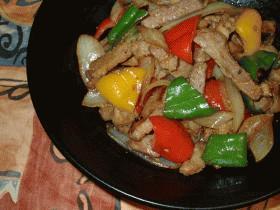 豚肉とピーマンの唐辛子炒め(アジア風)