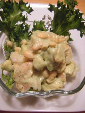 海老とアボガド&大豆のサラダ