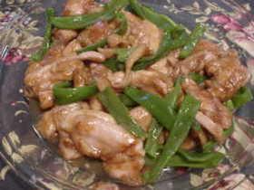 煮豚の煮汁で鶏とピーマンの炒め物