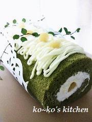 抹茶モンブランロールケーキの写真