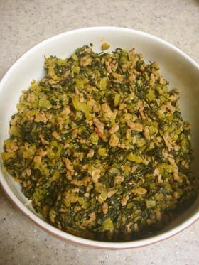 大根葉とひき肉のピリ辛ミソ炒め