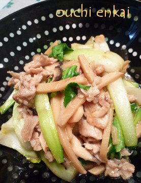 チンゲン菜と豚肉のオイスターソース炒め