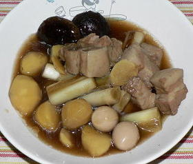 圧力鍋で、豚バラ肉と栗の中華風煮込み