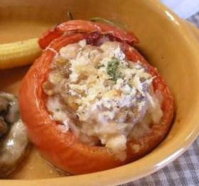 トマトの挽肉詰め