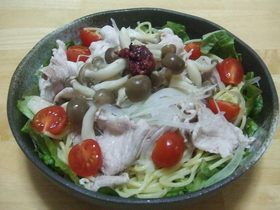 ●低カロリー●豚しゃぶサラダ風パスタ