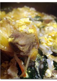 ♪ テールスープ ♪でキムチ玉子雑炊