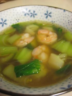えびと青梗菜のスープ、春雨入り!