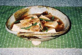 豆腐と豚肉のオイスターソース炒め