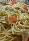 トマトと舞茸のパスタジェノベーゼ風