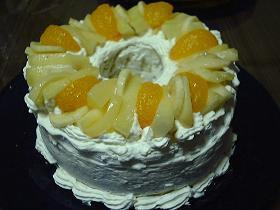 バナナシフォンのデコレーションケーキ