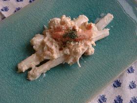 ホワイトアスパラガス&蟹缶の柚子マヨ和え