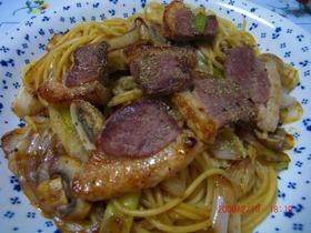 合鴨肉の和風スパゲティー
