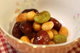 簡単☆彩りお豆の和風炒め