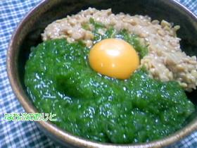 春の味♪生めかぶで作るめかぶ納豆丼