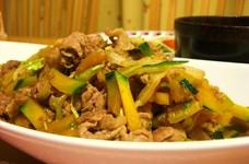 白菜・かぼちゃと牛肉の焼肉のたれ炒め