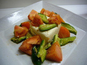 豆腐とトマトときゅうりのノンオイルサラダ