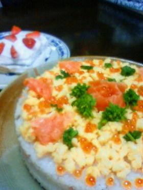 ひな祭りにちらし寿司ケーキ