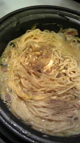 もつ鍋のしめ!カルボナーラ麺