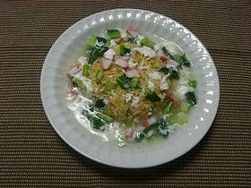 カニかまと小松菜のスープチャーハン