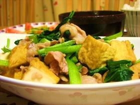 小松菜と厚揚げ・豚肉の炒め物