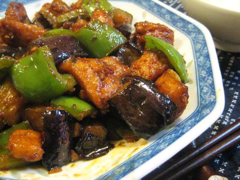 鶏とナスの辛味噌炒め