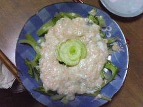 チンゲン菜のふわふわ卵白カニあんかけ